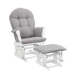 Windsor Glider and Ottoman, White with Gray Cushion | Amazon (US)