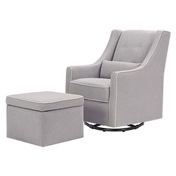 DaVinci Owen Upholstered Swivel Glider with Side Pocket and Storage Ottoman in Grey with Cream Pi... | Amazon (US)