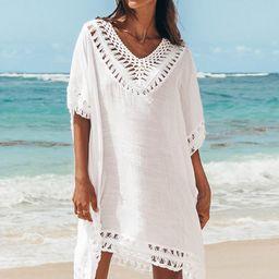 White Crochet Dolman Sleeve Cover Up | Cupshe