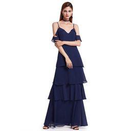 Ever-Pretty Women's Elegant Long Maxi Off Shoulder V-Neck Ruffled Flowy Wedding Guest Bridesmaid For | Walmart (US)