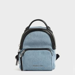 Mini Denim Double Zip Backpack   CHARLES & KEITH (Global)