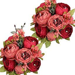 Nubry 2pcs Artificial Peony Silk Flowers Bouquet for Wedding Home Garden Decoration(Dark Red) | Amazon (US)