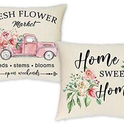 HEOFEAN Spring Pillow Covers 18x18 Inch – Set of 2 Floral Decorative Throw Pillow Covers,Farmho... | Amazon (US)
