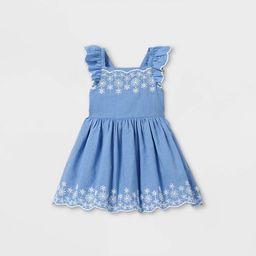 Toddler Girls' Embroidered Flutter Sleeve Dress - Cat & Jack™ Blue | Target