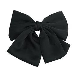 Black Color Satin Large Bow Hair Clips Clips Women Barrettes   Amazon (US)