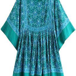 R.Vivimos Women's Summer Cotton Half Sleeve Casual Loose Bohemian Floral Tunic Dresses | Amazon (US)