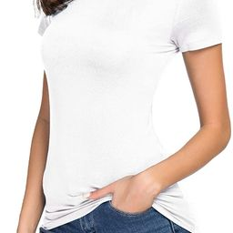 Women's Crewneck Slim Fitted Short Sleeve T-Shirt Stretchy Bodycon Basic Tee Tops   Amazon (US)