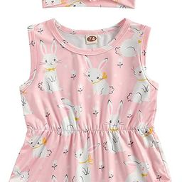Toddler Newborn Baby Girl Easter Outfits Bunny Print Floral Romper with Headband Summer One-Piece... | Amazon (US)