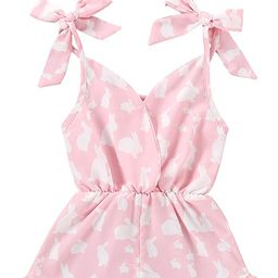 Toddler Kids Baby Girls Clothes Easter Romper Jumpsuit Sleeveless Strap Ruffle Romper Bodysuit Ou... | Amazon (US)