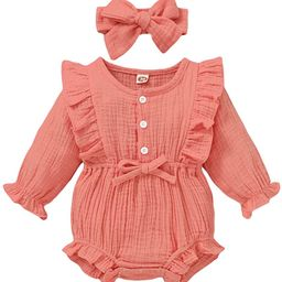 Newborn Baby Girl Clothes Romper Ruffle Sleeve Jumpsuit Bodysuit Cute Girls Onesies Infant Romper... | Amazon (US)