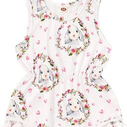 Newborn Infant Girl Easter Romper Sleeveless Bunny Onesies First Easter Outfits with Headband | Amazon (US)
