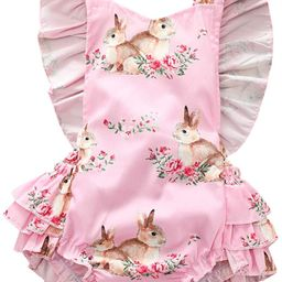 Easter Outfits Baby Girls Rompers Toddler Sleeveless Ruffle Bunny Bodysuit Jumpsuit Summer Clothe... | Amazon (US)
