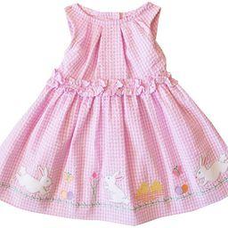 2/6X Girls Pink Bunny Appliqued Seersucker Easter Dress | Amazon (US)