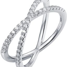 14K Gold Plated X Ring Simulated Diamond CZ Criss Cross Ring for Women | Amazon (US)