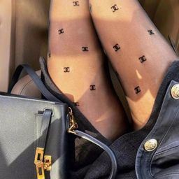 CC Brand Name Inspired Embroidery Tights Chanel Stockings | Etsy | Etsy (US)