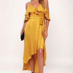 Layla Mustard Yellow Satin Off-the-Shoulder Wrap Dress | Lulus (US)