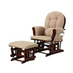 Upholstery Glider Rocker with Matching Ottoman Beige and Cherry | Amazon (US)