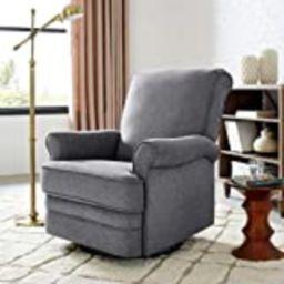 Classic Brands Manhattan Upholstered Swivel Glider Rocker Chair, Grey | Amazon (US)