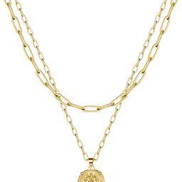 Turandoss Dainty Gold Choker Necklaces for Women - 14K Gold Plated Handmade Medallion Snake Link ... | Amazon (US)
