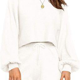 SYZRI Women's 2 Piece Knit Outfits Puff Sleeve Crop Top Shorts Set Sweater Sweatsuit | Amazon (US)