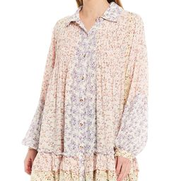 Lost In You Mixed Floral Print Long Sleeve Button Down Ruffled Hemline Tunic   Dillards