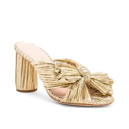 Loeffler Randall Penny High Heel Pleated Knot Slide in Gold from Revolve.com | Revolve Clothing (Global)