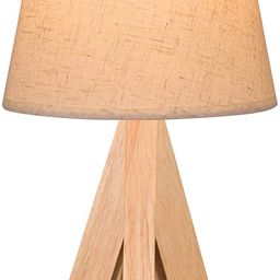 Porseme Table Lamp Wooden Tripod Nightstand Lamp with Linen Shade Desk Lamp for Home (1pcs)   Amazon (US)