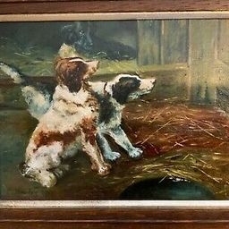 Original English Framed Oil Painting on Canvas Three Spaniels Signed Hindes 1917   eBay US