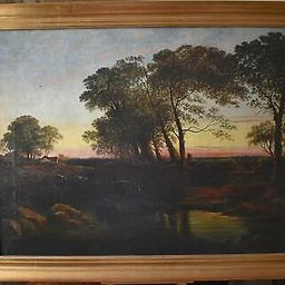 Large Pastoral Landscape, Farmstead at Sunset English School Oil Painting c1900   eBay US