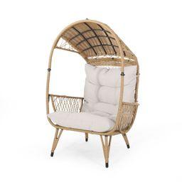 Maurice Outdoor Wicker Standing Basket Chair with Cushion, Light Brown, Beige | Walmart (US)