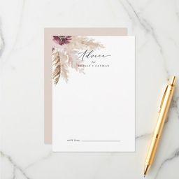 Boho Pampas Grass Wedding Advice Card   Zazzle.com   Zazzle