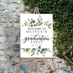 Editable Graduation Party Welcome Sign  Greenery Welcome    Etsy   Etsy (US)