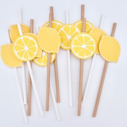 Lemon Party Straws  Lemon Themed Decor  Set of 12    Etsy   Etsy (US)