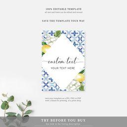 Custom Text Sign  Mediterranean Blue Tile Lemons  Editable   Etsy   Etsy (US)