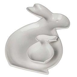 New!White Ceramic Rabbit Plates, Set of 2 | Kirkland's Home