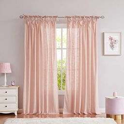 Central Park Coral Pink Tie Top Curtain Semi Sheer Window Treatment Linen Textured Decorative for...   Amazon (CA)