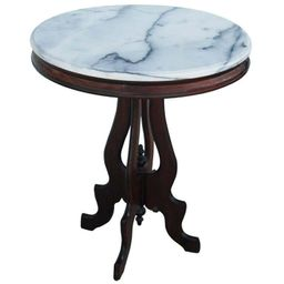 Victorian Eastlake Marble-Top Pedestal Side Table | 1stDibs