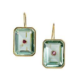 18K Goldplated, Quartz & Rhodolite Tile Earrings | Saks Fifth Avenue