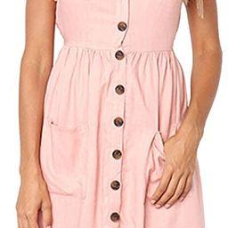 Women's Dresses-Short Sleeve V Neck Button Decoration T Shirt Midi Skater Dress with Pockets | Amazon (US)