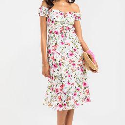 Fae Floral Off The Shoulder Midi Dress | Francesca's Collections