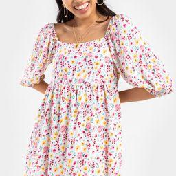 Whit Watercolor Floral Mini Dress | Francesca's Collections