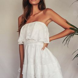 True Lover White Burnout Floral Ruffled Strapless Mini Dress | Lulus (US)