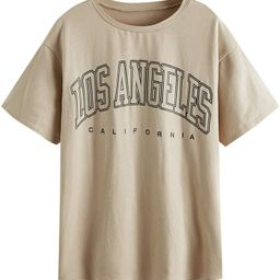 SheIn Women's Novelty Letter Graphic Oversized Drop Shoulder Longline Tee Tshirts | Amazon (US)