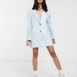 ASOS DESIGN extreme dad blazer in pastel blue check | ASOS (Global)