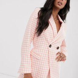 ASOS DESIGN pink dogstooth suit blazer | ASOS (Global)