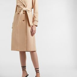 Lace Pieced Belted Trench Coat | Express
