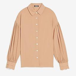 Drop Shoulder Pleated Balloon Sleeve Shirt | Express