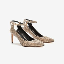 Snakeskin Textured Open Back Pointed Toe Pump | Express