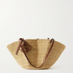 Tan Shell leather-trimmed woven raffia tote    Loewe   NET-A-PORTER   Net-a-Porter (Global excpt. US)