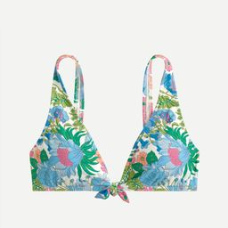 Eco tie-front bikini top in fairy floral | J.Crew US